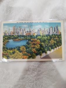 Antique/Vintage Postcard, Central Park and Midtown Skyline, New York City