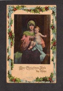 May Christmas Joy be Thine Greetings Postcard Woman holding Child H I Robbins
