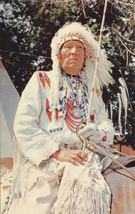 Chief Of The Famed Blackfoot Tribe, Authentic Indian Teepee, Canadian Rockies...