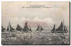 Old Postcard Boat Sailboat On Cote d & # 39Azur The regattas
