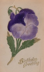 Silk Pansy Flower , 1900-10s ; Birthday Greetings
