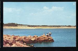 Narragansett, Rhode Island Postcard, Fishing Off The Rocks, Beach