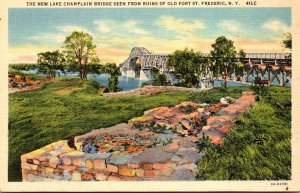 New York New Lake Champlain Bridge Seen From Ruins Of Old Fort St Frederic Cu...