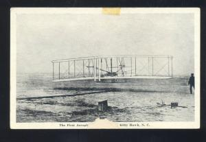 KITTY HAWK SOUTH CAROLINA THE FIRST AEROPLANE FLIGHT AVIATION VINTAGE POSTCARD