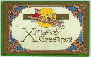 1911 SANTA CLAUS Christmas Postcard Flying Reindeer / Sleigh Xmas Greetings