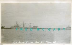 1950 Port-au-Prince Haiti Real Photo Postcard: Ship M/S BENNY