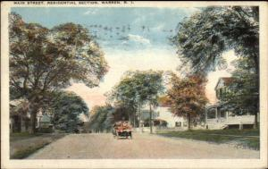 Warren RI Main St. c1920 Postcard