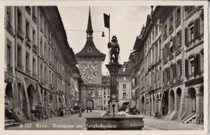 Switzerland, Suisse, Bern, Kramgasse mit Zeitglockenturm, unused real photo RPPC