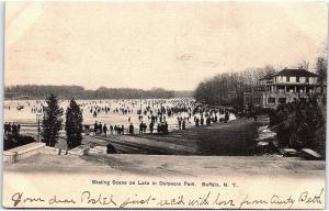 Postcard NY Buffalo Skating Scene On Lake In Delaware Park UDB K135