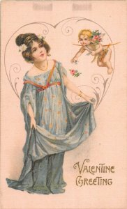 F99/ Valentine's Day Love Holiday Postcard c1910 SILK Pretty Girl Cupid 18