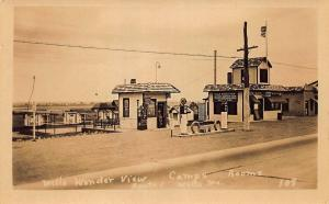Wells ME Wonder View Lunch Cabins Dial Gas Pumps, real photo postcard