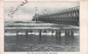 New Pier and Sun Pavilion, Long Beach, California, Early Postcard, Used in 1905