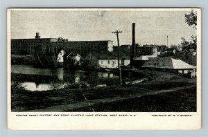 West Derry NH-New Hampshire, Light Station, Factory, Vintage c1909 Postcard