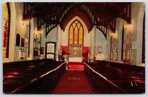 Hyde Park New York~St James Episcopal Church Interior~1950s Postcard