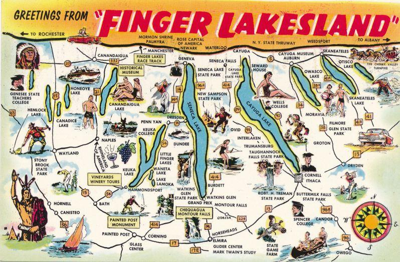 Map Of New York Finger Lakes.Greetings From Finger Lakesland Ny New York Postcard Map Of Finger