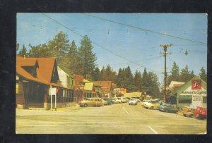CRESTLINE CALIFORNIA DOWNTOWN STREET SCENE OLD CARS VINTAGE POSTCARD