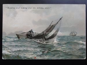 Sailing Yacht: Bending and howing o'er the billowy swell c1906 by D.F.& Co