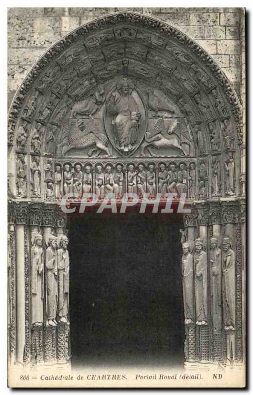 Old Postcard Cathedral of Chartres Royal Portal
