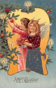 Merry Christmas greetings young angels decorating tree antique pc (Y5857)