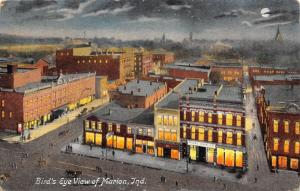 Marion Indiana~Birdseye View~Night Lights~Model Shoe Company~Full Moon~1910 PC