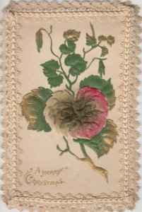 Embroidered border , Silk Flower , 1900-10s ; CHRISTMAS