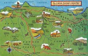 The Lorna Doone Country Map Postcard, Devon, Somerset, Exmoor Forest AZ7