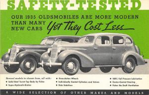 1935 Oldsmobiles New Makes and Models Safety Tested Cars Postcard