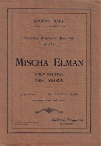 Mischa Elman Violin Classical Antique Queens Hall London Theatre Programme