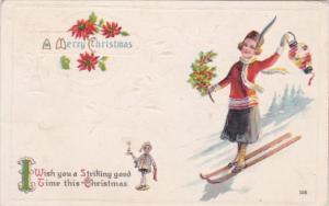 Merry Christmas Young Girl On Skis 1914