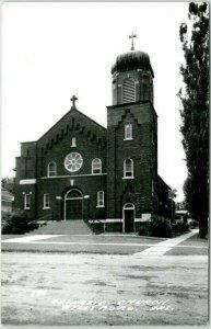 HILLSBORO, Wisconsin RPPC Real Photo Postcard CATHOLIC CHURCH Street View Unused