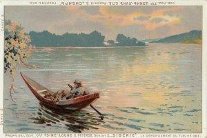 RUSSIA , 1900-10s ; Art Postcard , Man in boat