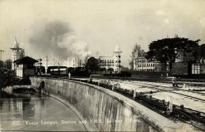 malaysia, KUALA LUMPUR, Station, F.M.S. Railway Offices, Steam Train 1920s RPPC