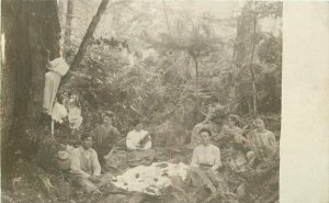 C-1905 Country Picnic Men Women Group photo RPPC Photo Postcard