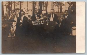 Ernest Plays in Quartet @ Park: Harp, Tuba, Trumpet & Woodwind~RPCC c1910