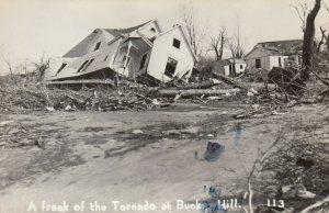 RP: BUNKERHILL , Illinois , 1948 ; Tornado , Home Damage