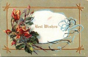 Best Wishes Floral Flowers Roses - Vintage Postcard 1900s - FREEMONT MI