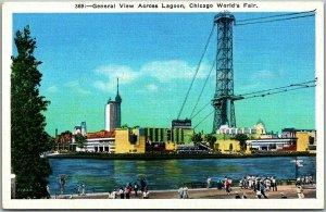 1933 Chicago World's Fair Official Postcard General View Across Lagoon Linen