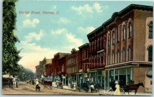Warren, Ohio Postcard Market Street Downtown Scene Horses Stores c1910s UNUSED