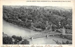 B99/ McConnelsville Malta Ohio Postcard 1937 Henderson Hill Bridge River