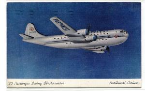 Boeing Stratocruiser Northwest Airlines Plane 1947 postcard