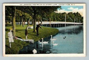 Asbury Park NJ-New Jersey, Feeding The Swans, Sunset Lake Vintage c1930 Postcard