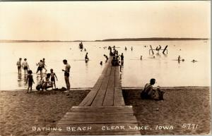 Clear Lake Iowa~Families Bathing Beach~Water Teeter Totter~Long Dock~1940s RPPC