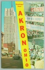 Akron Ohio~National Tower Building~Derby Downs Soap Box Racing~c1950 Postcard