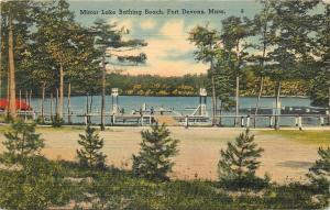 Fort Devens MA~Mirror Lake Bathing Beach~Life Guard Towers~1942 Postcard