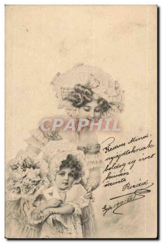 Fantaisie - Beautiful Woman and sweet child (carte hongroise Hungary Hongrie) -