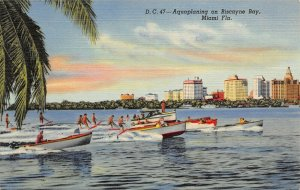 LP31   Miami Beach Florida Postcard Biscayne Bay Aquaplaning motorboats