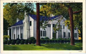 CLEMSON, SC South Carolina   FORT HILL John C Calhoun Home  1961 Linen Postcard