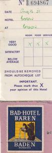 Bad Hotel Baren Baden Switzerland 1950s Receipt