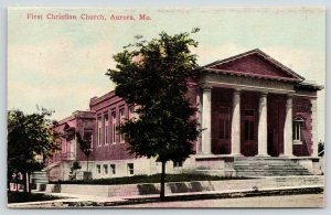 Aurora Missouri~First Christian Church~Corner Retaining Wall~1910 Postcard
