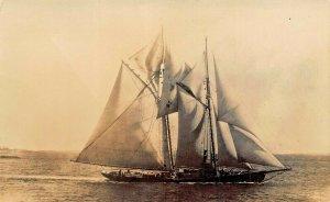 LARGE MULTI SAIL BOAT SHIP~1920s REAL PHOTO POSTCARD